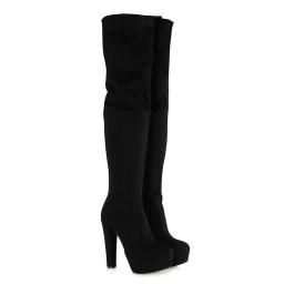 Bayan Platform Streç Çorap Çizme Siyah Süet