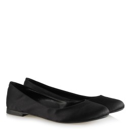Ballet Flat Shoes Black Color Satin