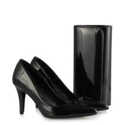 Ayakkabı Stilettos Çanta Takım Siyah Rugan