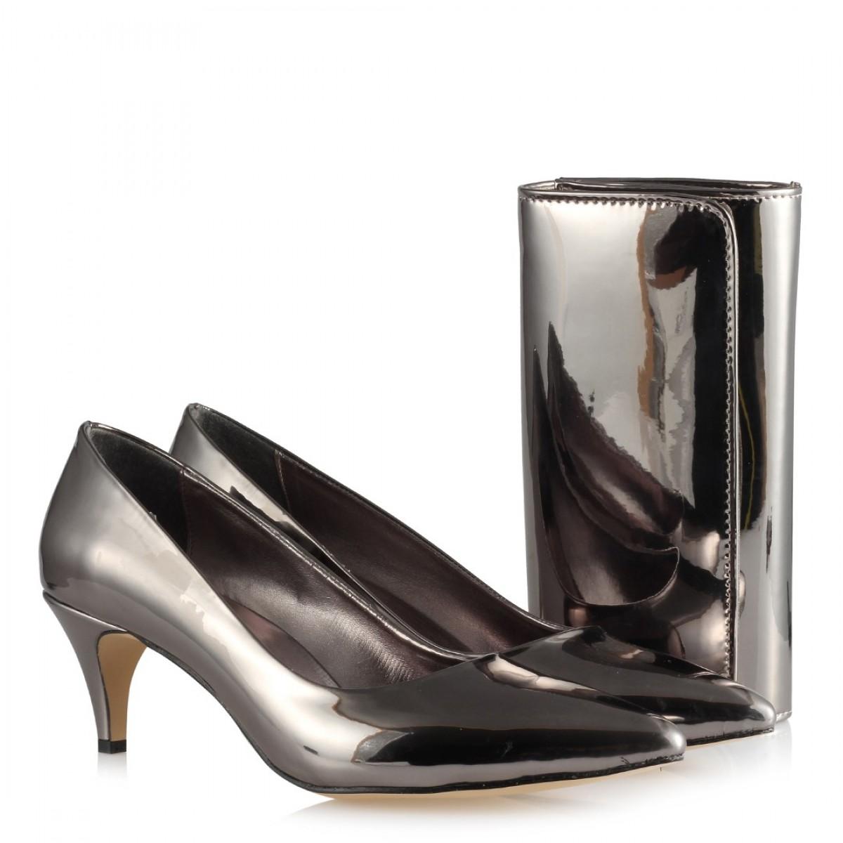 Stiletto Ayakkabı Füme Çanta Takım