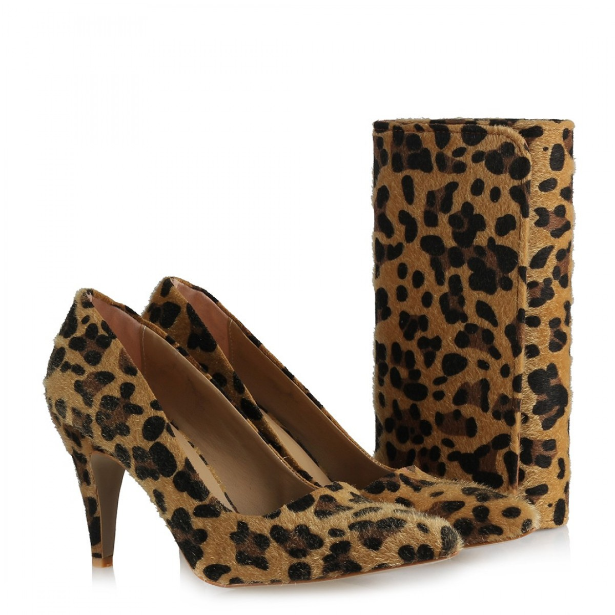 Leopar Stiletto Ayakkabı Ve Çanta Takımı