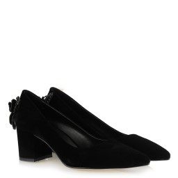 Siyah Süet Kalın Topuklu Stiletto Kelebek