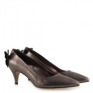 Stiletto Ayakkabı Az Topuklu Füme Yaldızlı Kelebek