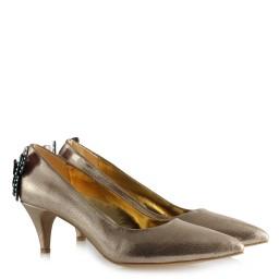 Золотистые Блестящие Туфли На Маленьком Каблукес Бабочкой