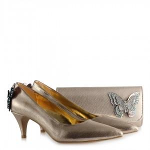 Stiletto Ayakkabı Çanta Takım Dore Yaldızlı Kelebek Tasarım