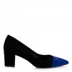 Kalın Topuklu Ayakkabı Siyah Saks Detaylı