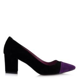 Kalın Topuklu Ayakkabı Siyah Mor Detaylı