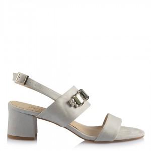 Topuklu Sandalet Ayakkabı Gri Süet Tokalı