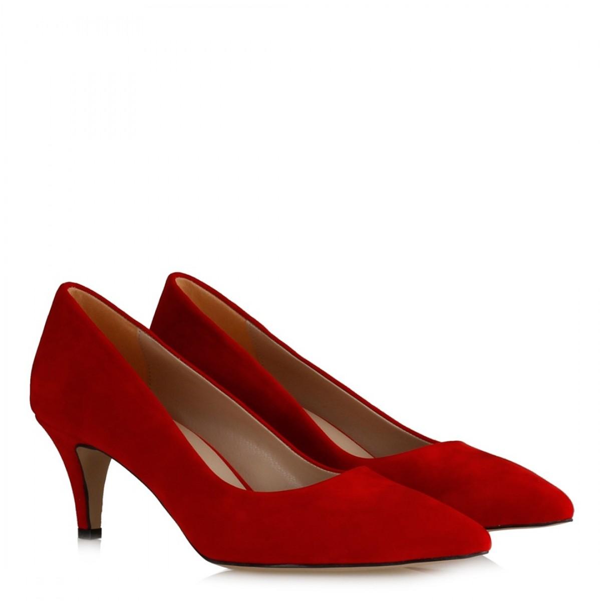 Stiletto Az Topuklu Kırmızı Süet