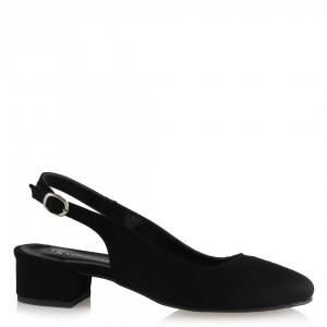 Alçak Topuklu Siyah Süet Arkası Açık Ayakkabı