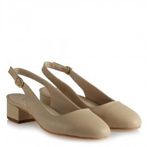 Alçak Topuklu Ten  Arkası Açık Ayakkabı
