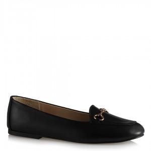 Ayakkabı Babet  Siyah Deri Tokalı