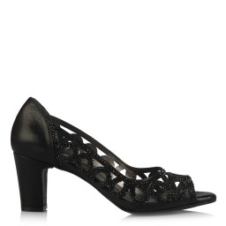 Ayakkabı Siyah Taşlı Şık Kafes Model