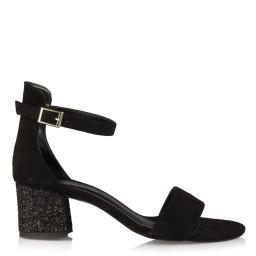 Az Topuklu Ayakkabı Siyah Cam Kırığı Topuklu