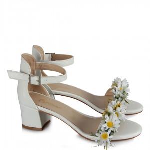 Az Topuklu Gelin Ayakkabısı Papatyalar Tasarım