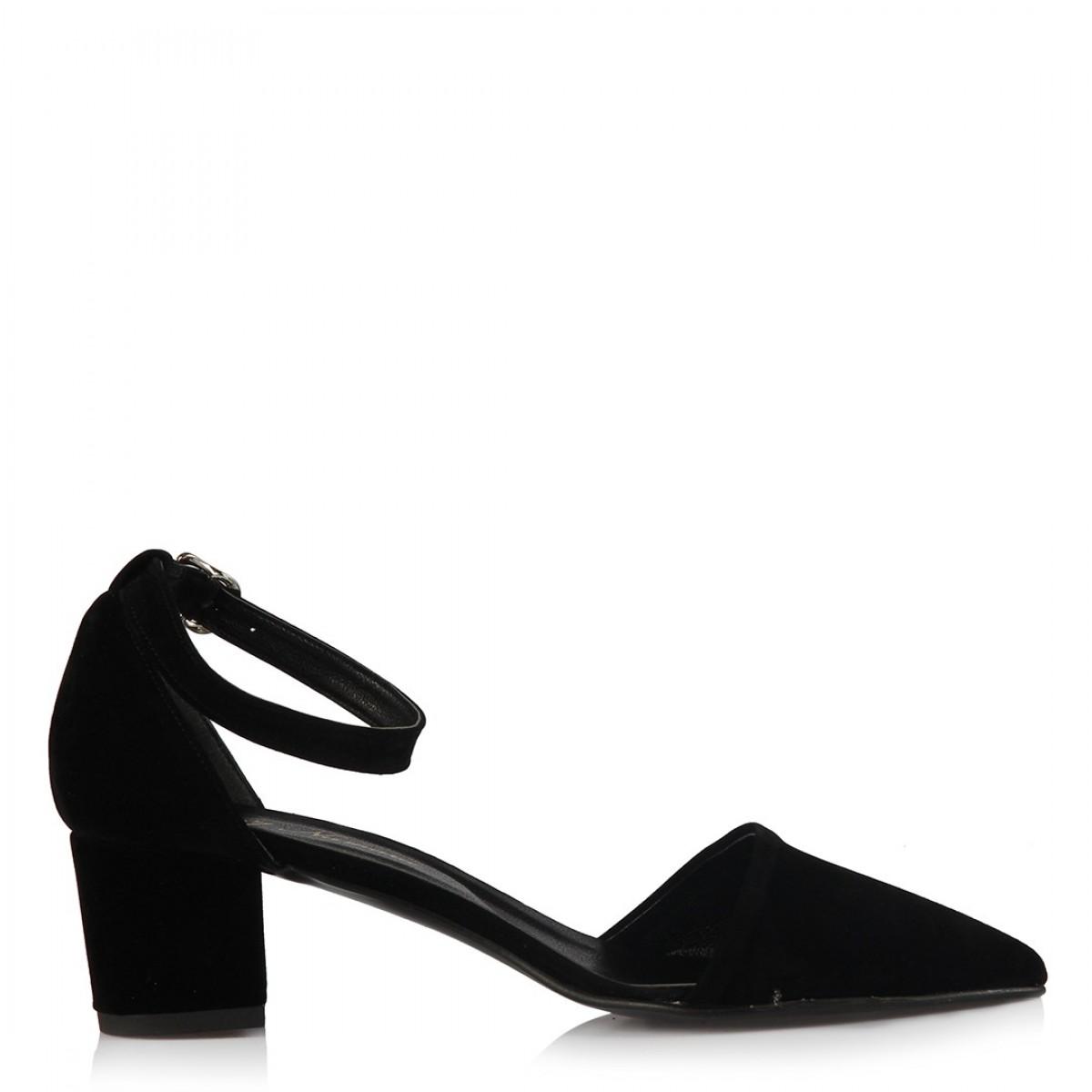 Az Topuklu Stiletto Ayakkabı Siyah Süet