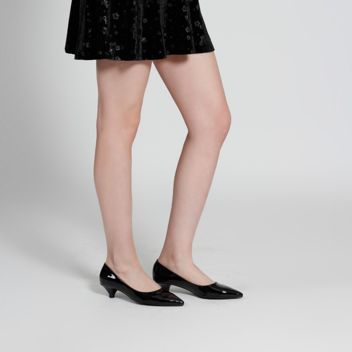 Az Topuklu Stiletto Siyah Rugan