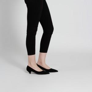 Az Topuklu Stiletto Siyah Süet