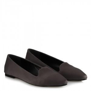 Babet Ayakkabı Gri Süet Sivri Model