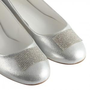 Babet Ayakkabı Gümüş Renk Taşlı