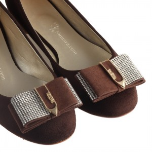 Babet Ayakkabı Kahverengi Süet Taşlı Toka