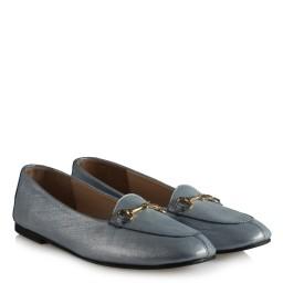 Babet Ayakkabı Mavi Parlak Hakiki Deri Tokalı