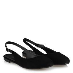 Babet Ayakkabı Siyah Süet Arkası Açık