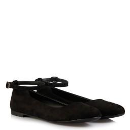 Babet Ayakkabı Siyah Süet Kemerli