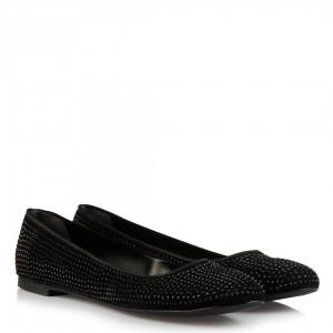 Babet Ayakkabı Siyah Süet Taşlı