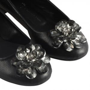 Babet Ayakkabı Siyah Yaldızlı Şık Tokalar