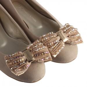 Babet Ayakkabı Vizon Taşlı Toka
