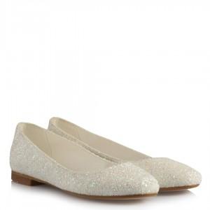 Babet Gelin Ayakkabı Beyaz Simli