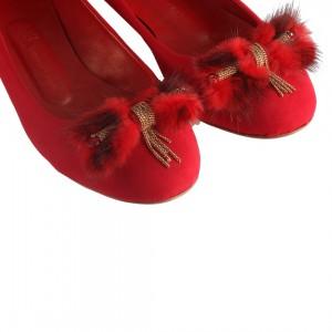 Babet Kırmızı Süet Tüylü Zincir