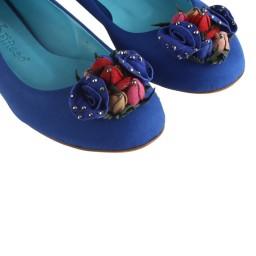 Babet Saks Mavi Süet Renkli Çiçek