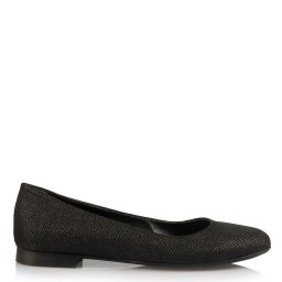 Ballet Flat Shoes Black Silvery Shiny