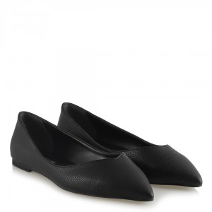 Babet Ayakkabı Siyah Floter Deri Sivri