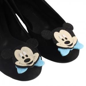 Babet Siyah Süet Mavi Mickey