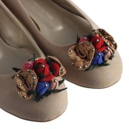 Bayan Babet Vizon Süet Renkli Çiçekler