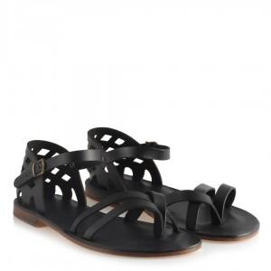 Bodrum Sandalet Siyah Kafesli