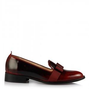 Bordo Rugan Fiyonklu Bayan Ayakkabı