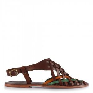 Büyük Numara Sandalet Kahverengi Örgülü Model