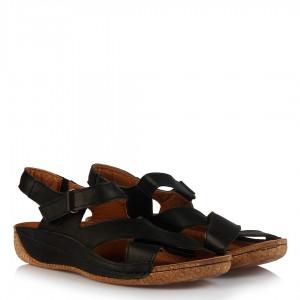 Büyük Numara Sandalet Siyah Hakiki Deri