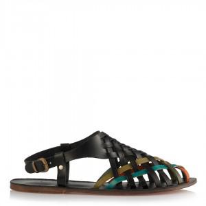 Büyük Numara Sandalet Siyah Örgülü Model
