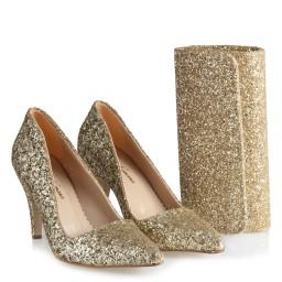 Туфли С Сумкой В Комплекте С Золотистыми Блесткам