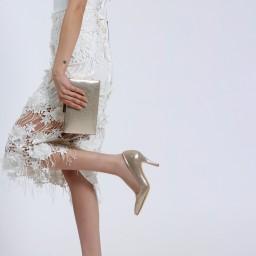 Золотистые Блестящие Туфли С Сумкой В Комплекте
