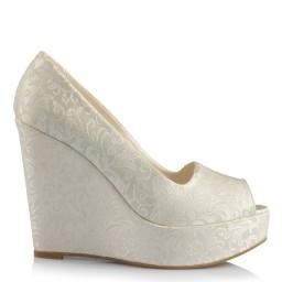 Düğün Ayakkabısı 19 Pont Dolgu Topuk Yeni Dantel Ön Açık