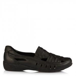 Düz Ayakkabı Siyah Hakiki Deri
