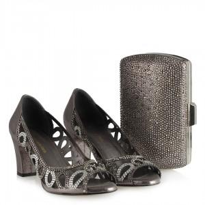 Füme Ayakkabı Taşlı Şık Kafes Model Çanta Kombin