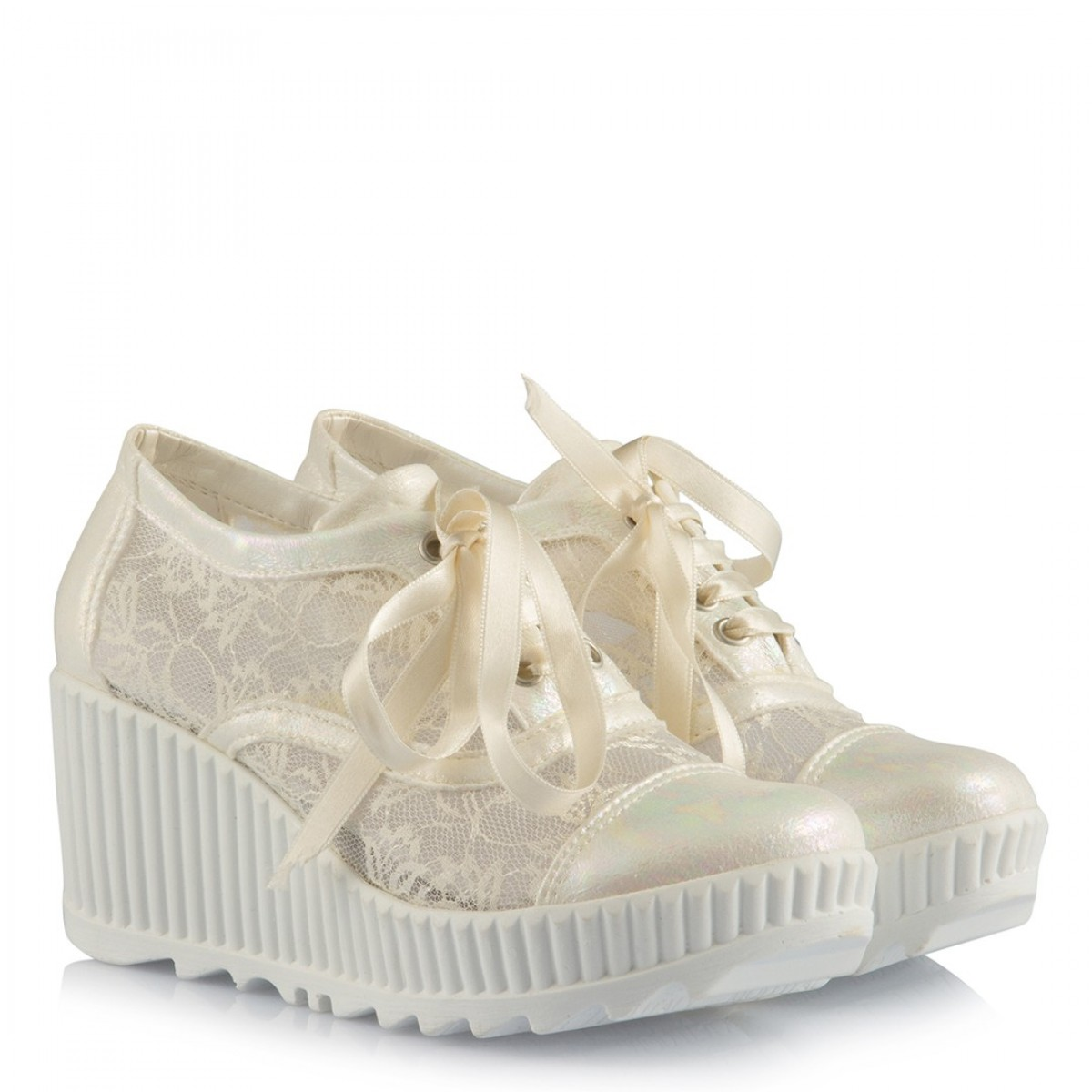 Gelin Ayakkabısı Az Topuklu Spor Kırık Beyaz Dantel