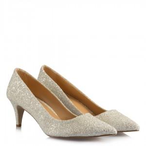 Gelin Ayakkabısı Az Topuklu Stiletto Cam Kırığı